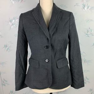 Ann Taylor Gray Wool Striped Blazer Career 4 Work